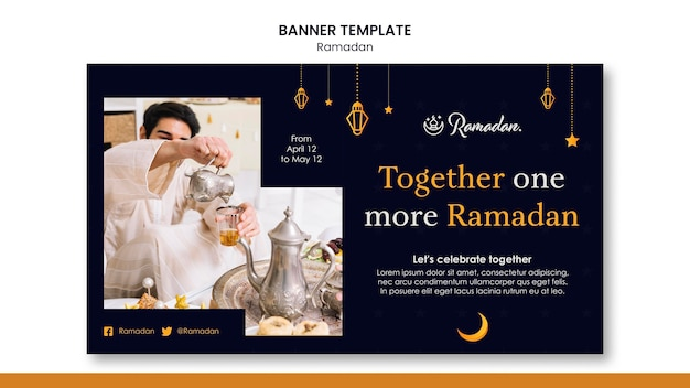 Hermoso banner horizontal de ramadán