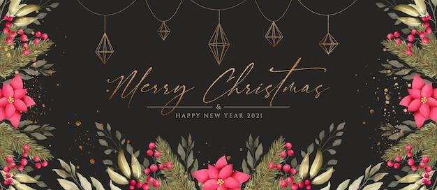 Hermoso banner navideño con naturaleza y adornos dorados.