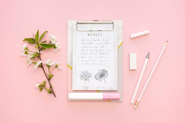 Hermoso concepto de papelería minimalista