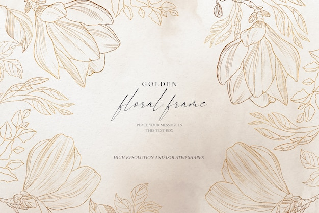 Hermoso fondo floral con naturaleza dorada