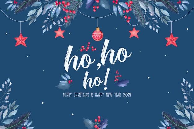 Hermoso fondo navideño con adornos azules y rojos