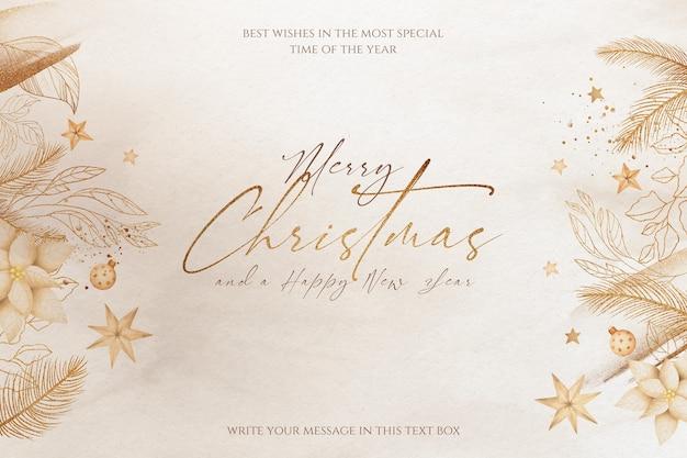 Hermoso fondo navideño con adornos dorados y naturaleza.