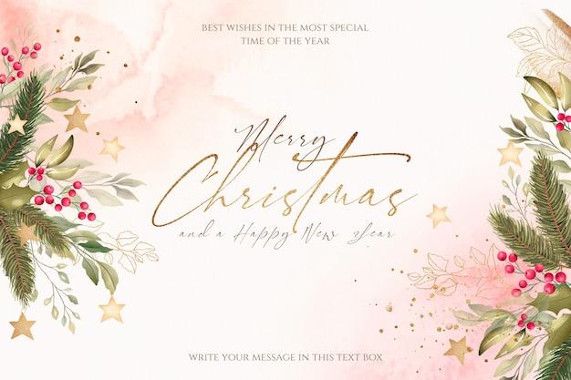 Hermoso fondo navideño con naturaleza acuarela