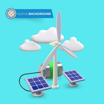 Hernieuwbare energie om de co2-uitstoot te verminderen. 3d illustratie