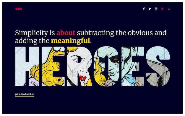 Hero header minimale typografie