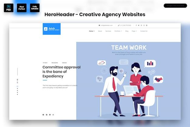 Hero header voor websites van creative agency