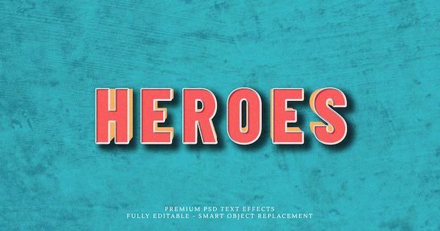 Heroes efecto de estilo de texto en 3d psd