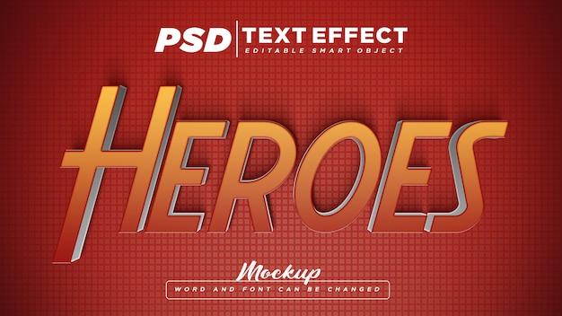 Heroes teksteffect bewerkbare tekst mockup