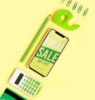 Herramientas de compras de maquetas de vista superior