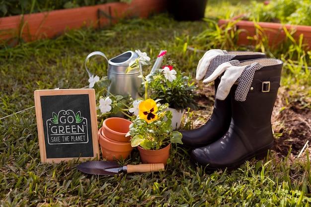Herramientas para maqueta de jardinería