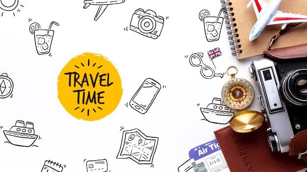 Herramientas de viajero mientras explora