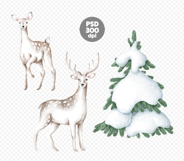 Herten en kerstboom digitale illustraties