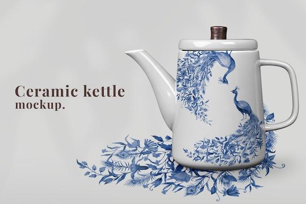 Hervidor de porcelana editable con patrón de pavo real azul