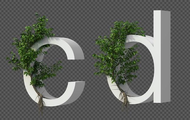 Het 3d teruggeven van kruipende boom op alfabet c en alfabet d