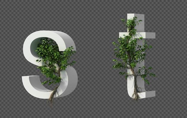 Het 3d teruggeven van kruipende boom op alfabet s en alfabet t
