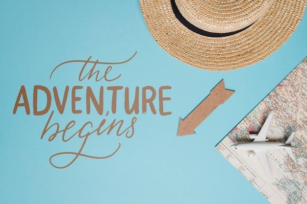 Het avontuur begint, motiverende belettering citaat voor vakantie reizen concept