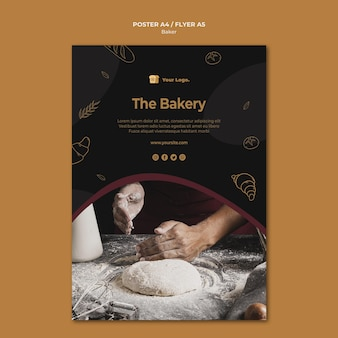 Het concept van de bakkerij-flyer-sjabloon
