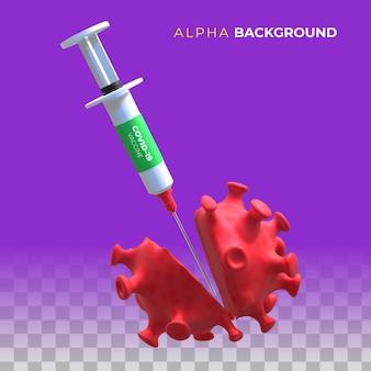 Het coronavirus vernietigen met het vaccin. 3d illustratie