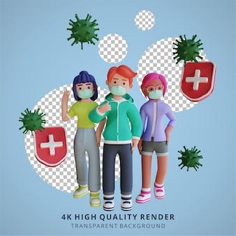 Het dragen van masker corona virus 3d illustratie rendering