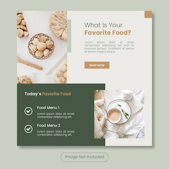 Het favoriete voedselmenu van vandaag instagram postbannersjabloon