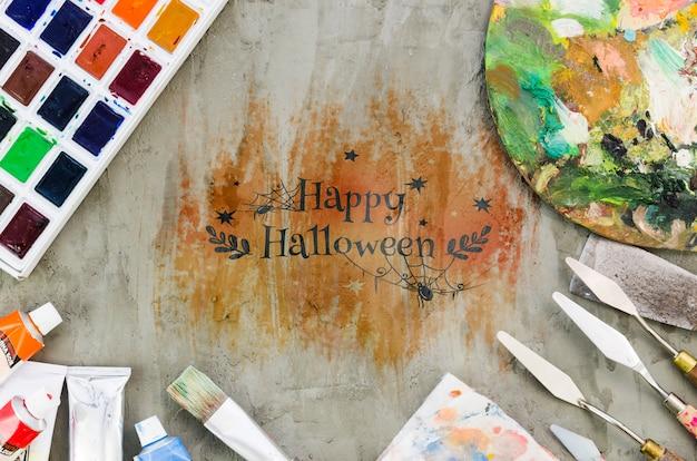 Het gelukkige artistieke concept van halloween met acrylpallette