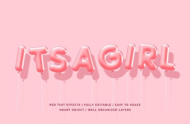 Het is een meisje 3d ballonnen tekst stijl effect mockup