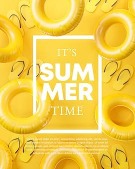 Het is zomertijd sjabloon frame gele achtergrond
