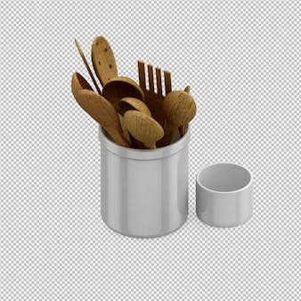 Het isometrische 3d keukengerei geeft terug