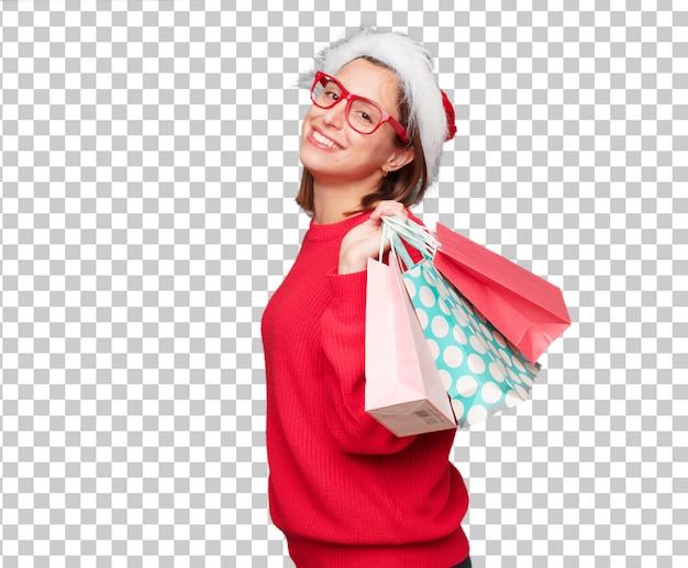 Het jonge mooie concept van vrouwenkerstmis. bewerkbare achtergrond
