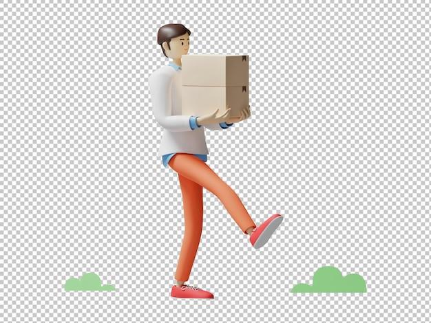 Het leveren van pakket 3d illustratieontwerp die geïsoleerd karakter teruggeven