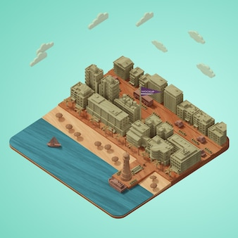 Het miniatuurmodel van de werelddag van steden