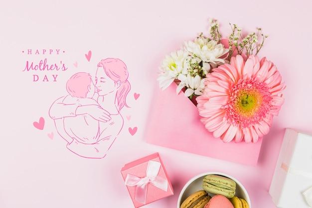 Het model van de moederdag met copyspace