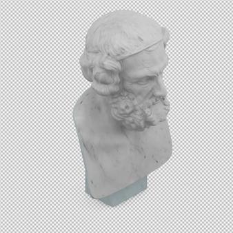 Het oude geïsoleerde mensenstandbeeld 3d geeft terug