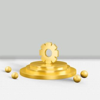 Het plaatsen van gouden 3d pictogram geeft terug