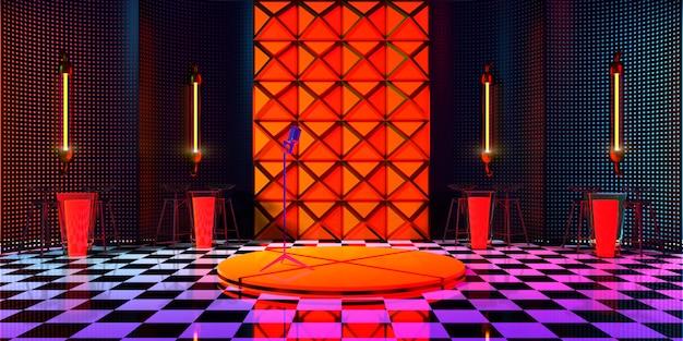 Het podium in het midden van de kamer