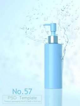 Het product en van de waterplons 3d malplaatje als achtergrond geeft terug