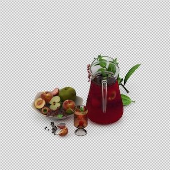 Het rode sap met 3d vruchten geeft terug Premium Psd