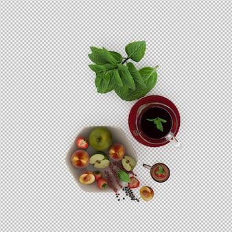 Het rode sap met 3d vruchten geeft terug