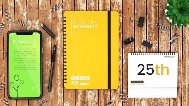 Het scènemodel van de pixel perfect modern bureau van iphone x, notitieboekje en desktopontwerper op de rustieke houten omhoog spot van de lijst hoogste psd