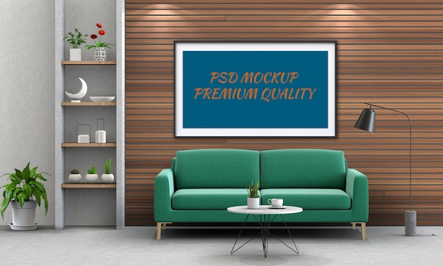 Het spot op affichekader in binnenlandse 3d woonkamer en bank, geeft terug