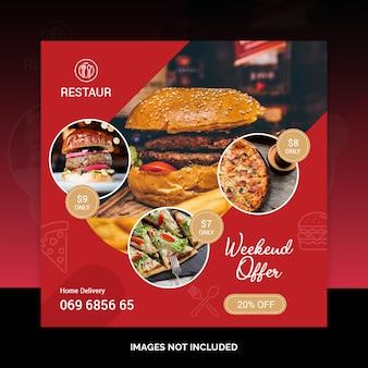 Het voedsel sociale media van het restaurant na bannermalplaatje psd