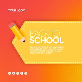 Hete banner sociale media terug naar school met potlood
