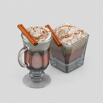Hete cappuccino geïsoleerde 3d geeft terug