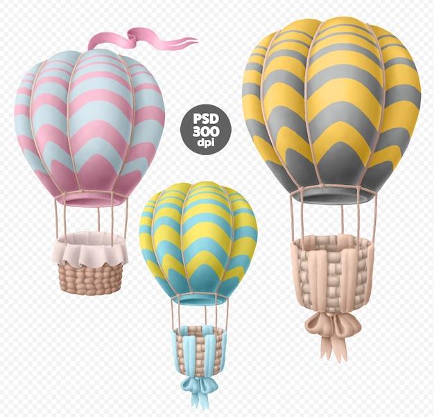 Hete lucht ballonnen psd clipart set geïsoleerd