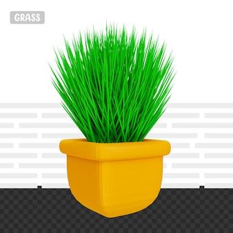 Hierba verde de renderizado 3d con maceta