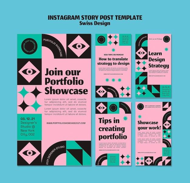 Historia de instagram de diseño suizo