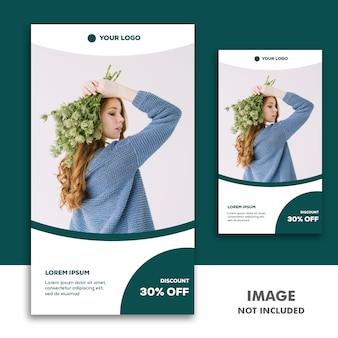 Historia de instagram de plantilla de banner de redes sociales, fashion girl green