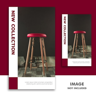 Historia de instagram de plantilla de banner de redes sociales, venta de muebles rojo