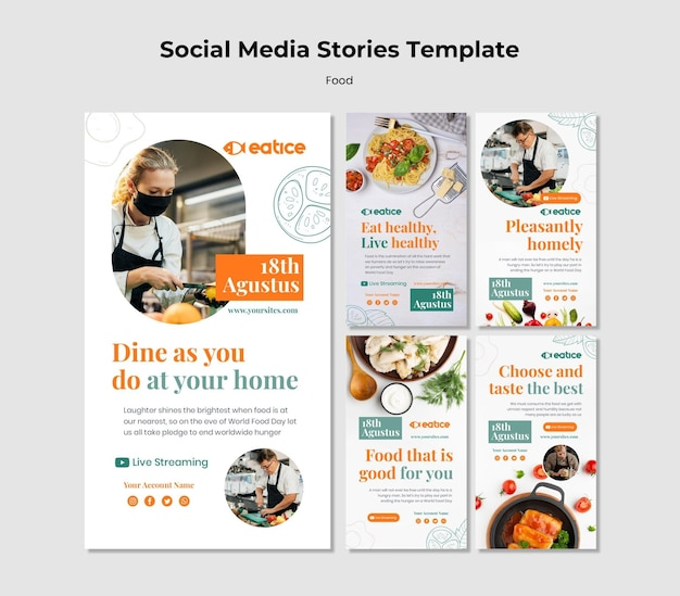 Historias de alimentos saludables en las redes sociales