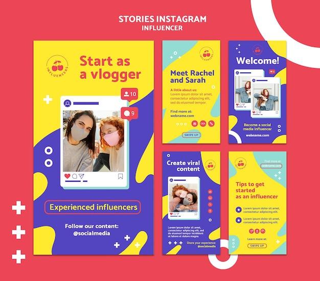 Historias coloridas de influencers en redes sociales